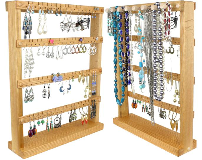 Oak Jewelry Organizer with Necklace Rack